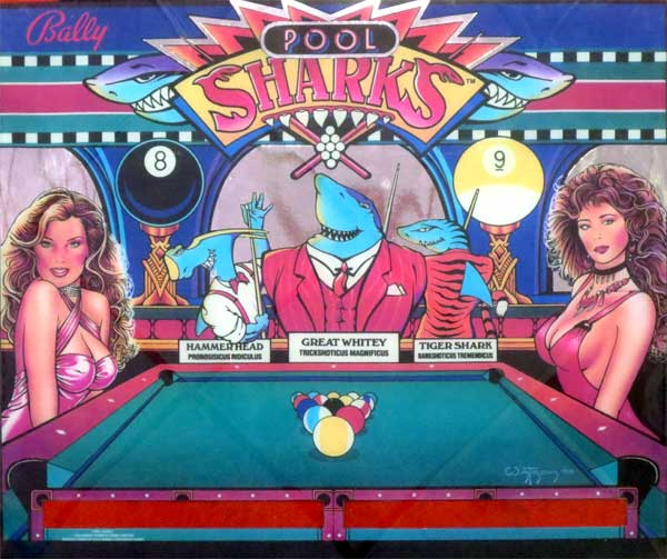Flipper-Pinball-Pool-Sharks-Backlight-Translite-Replika